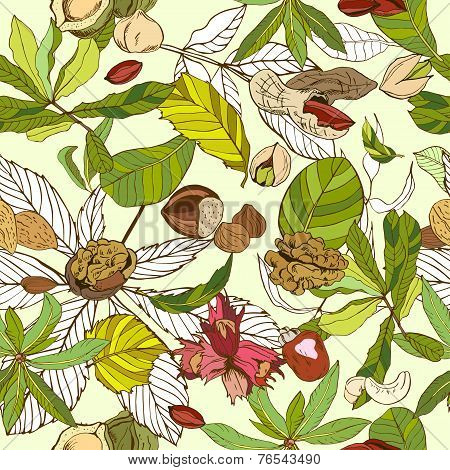 Seamless pattern composed of different nuts with leaves