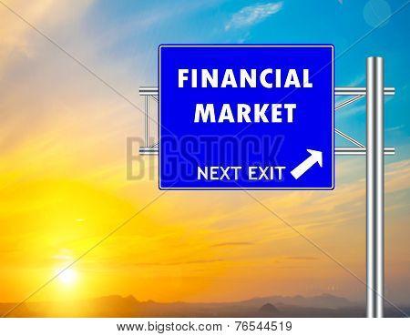 Financial Market Blue Road Sign