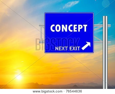Concept Blue Road Sign