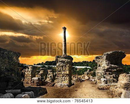 Baths Of Antonius In Carthage Tunisia .sunset