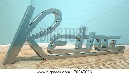 The word retro writting in chrome and a classic font set in the corner of an empty room with light blue wall and a reflective wooden floor poster