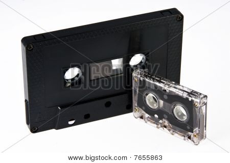 Audio-cassete And Cassette For Dictaphone On A White Background