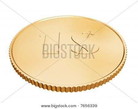 Gold 1$ Coin On White