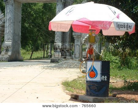 Rural Petrol/Gas Station in Cambodia