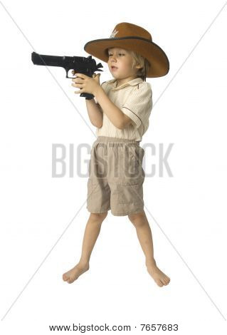 Boy Playing Sheriff