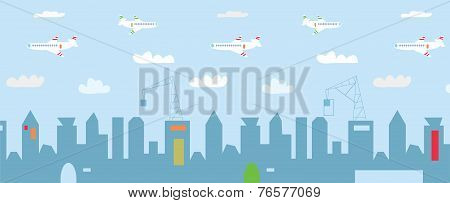 Cityscape cartoon with high buildings constructions