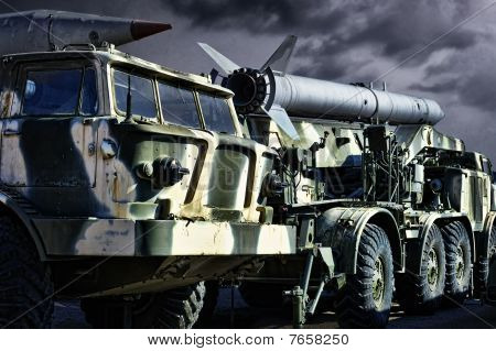 Spoky military transport cars with the rockets poster