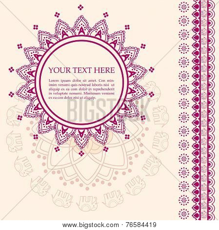 Pink and cream oriental henna design