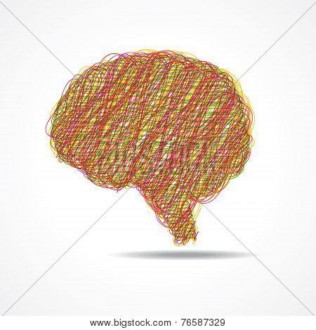 Sketched brain or mind symbol stock vector