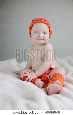 Baby Wearing Costume Of Pumpkin