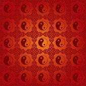 Traditional Chinese yin yang symbol seamless pattern poster