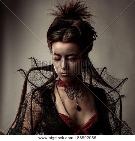 Fashion Gothic Style Model Girl Portrait