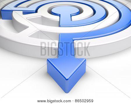 3D Circle Maze With Blue Arrow