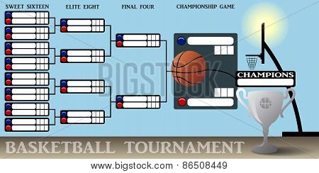 Illustration of a Basketball Tournament Bracket with Ball poster