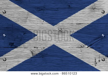 Scotland National Flag Painted Old Oak Wood Fastened