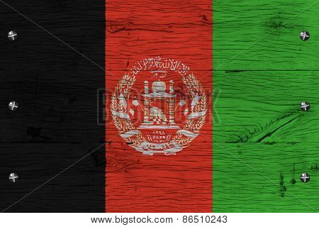 Afghanistan National Flag Painted Old Oak Wood Fastened