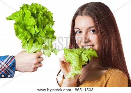 girl with lettuce