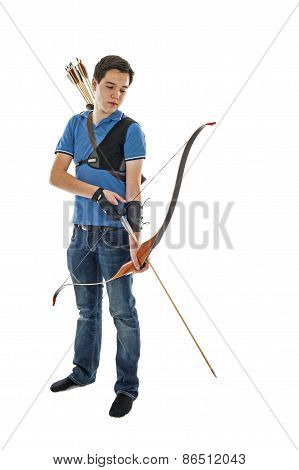 Boy Standing With Bow An Arrow