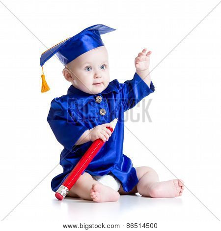 Smart baby in academician clothes