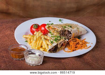 Eastern food. Arab food. Shawarma.