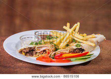 Eastern food. Arab food. Shawarma