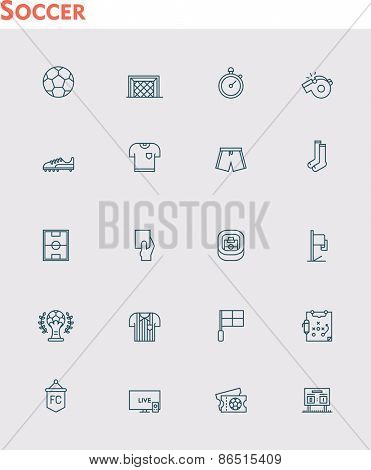 Set of the soccer related icons