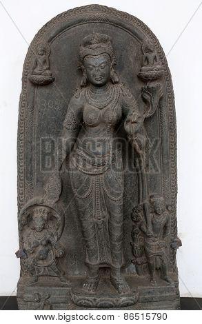 KOLKATA, INDIA - FEBRUARY 15: Tara, from 10th century found in Basalt, Bihar now exposed in the Indian Museum in Kolkata, on February 15, 2014