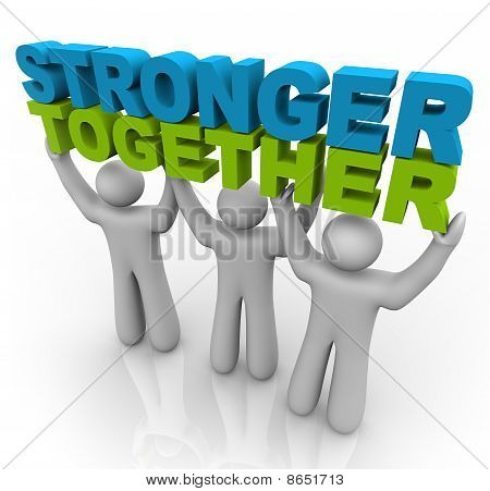poster of Three men join forces to lift the words Stronger Together