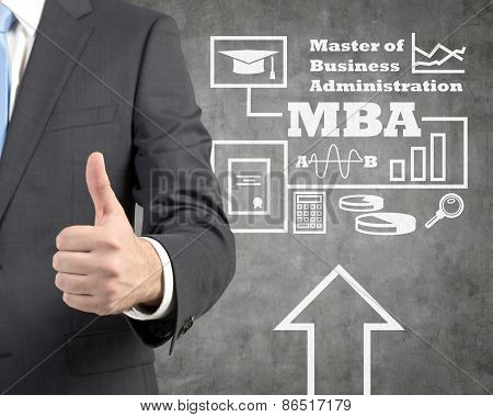 businessman showing thumb up and drawing mba scheme on wall poster