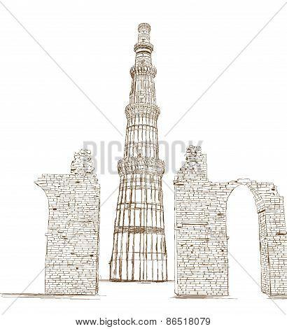 Qutub Minar, New Delhi, India - Vector Illustration