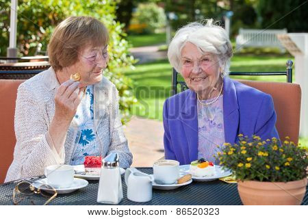 Cheerful Old Women Relaxing At The Garden Table