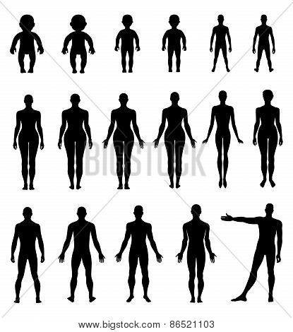 Full Length Front, Back Human Silhouette Set