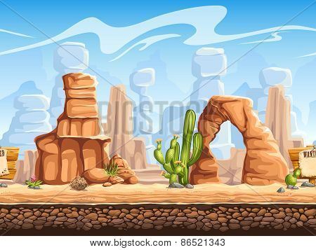 Tileable Horizontal Background Wild West. Set1