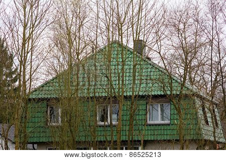 The Green House Behind Trees