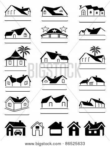 Buildings Black Signs Logo Set