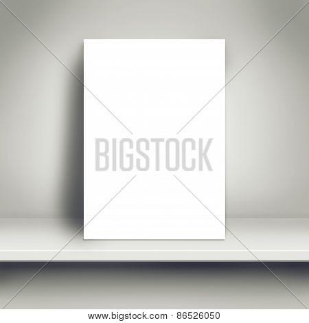 Blank White Poster Mock Up On White Shelf