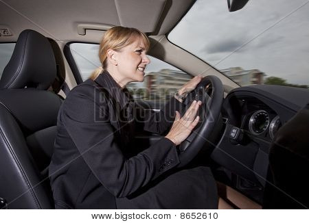 Business woman in car