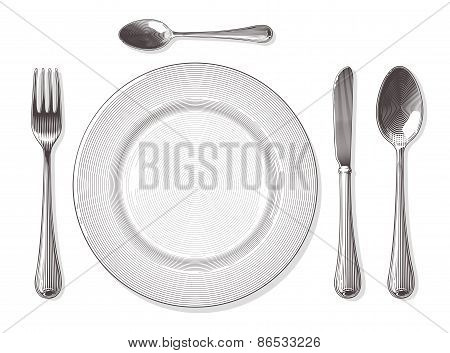Fork,spoon, knife, plate in engraving style