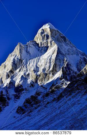 dramatic Mount Shivling in the western Garhwal Himalaya, Uttarakhand, Uttaranchal, India