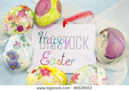 Bunch Of Handcolored Decoupage Easter Eggs