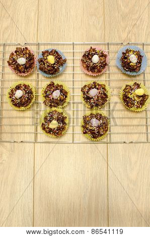 Aerial View Of Easter Cake Treats Arranged On A Cooling Rack
