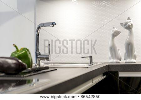 Detail Of Modern White Kitchen Interior Design