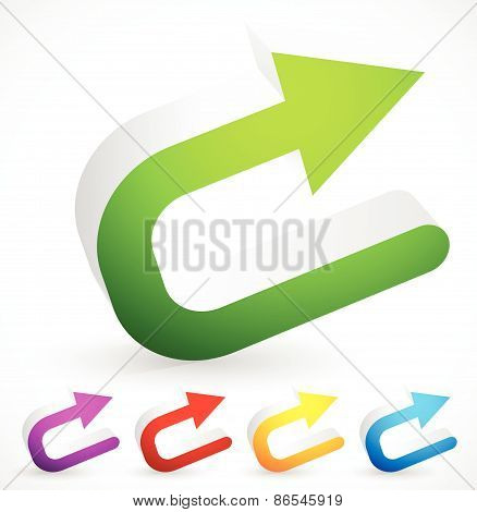3D Colorful U Turn / Backward Or Return Arrows