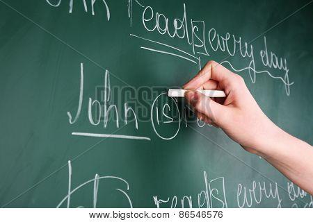 Teacher hand writing grammar sentences on blackboard background