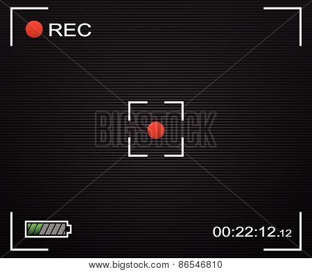 Camera Background. Camera Background And Ui Elements. Viewfinder, Rec Label, Battery Indicator. Tran