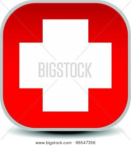 White Cross Over Red - For First Aid, Health Concepts