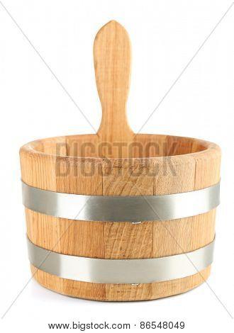 Oaken bucket for sauna, isolated on white