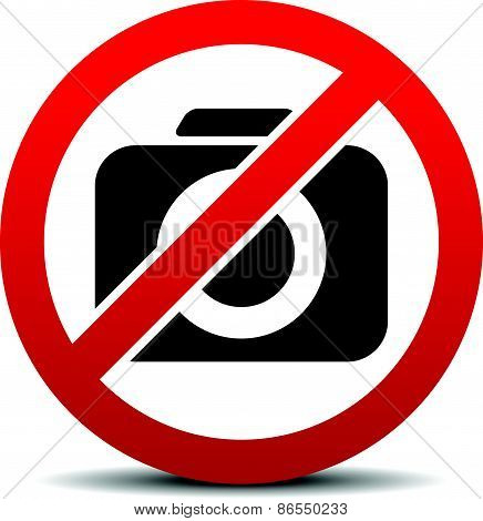 Crossed Camera Symbol, No Photo Sign With Rounded Camera