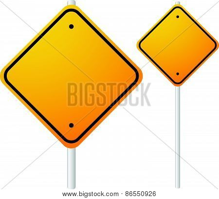 Blank Orange Roadsigns With Empty Space On Metal Poles. Smaller, Larger Versions Included.