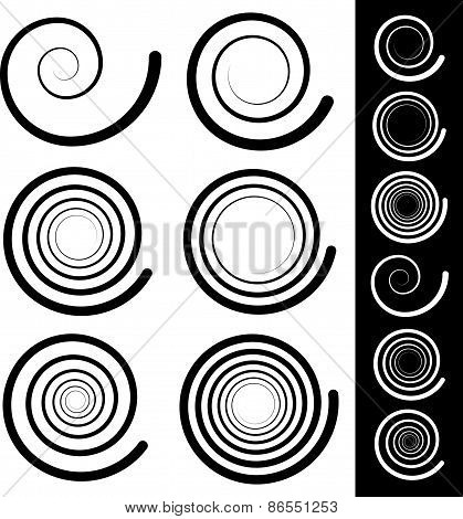 Eps 10 vector illustration of Spiral elements. Set of 6 different swirl swoosh poster